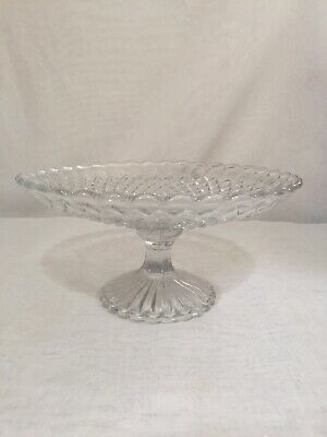Vintage Glass Cake Stand Clear Glass Pedestal Beautiful Art Deco VGC
