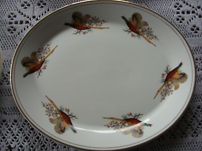 Dudson fine china oval plates pheasants and gold trim