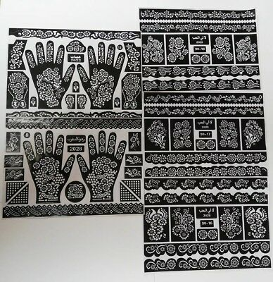 Henna/Mehndi Stencils Arabic/Indian Style Body Art, Pack of 12 large pages
