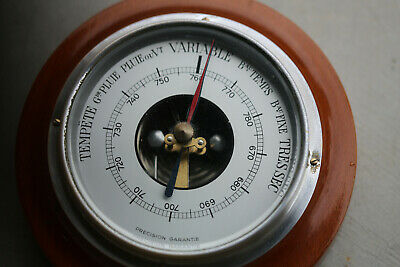 Vintage French Aneroid Barometer Oak Glass Display Home Decor 1950s 15cm/5.9inch