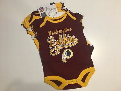 bc18ee238 H26 NEW NFL girls Infant Washington Redskins 3 Piece Bodysuit Set 0-3 months