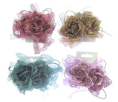 fascinator double headed hair clip  and brooch pin silk flower lace and ribbon