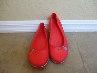 6b2381f45b73 CROCS WOMENS 9 Red Ballet Flats With Felt ~~EUC~~ RARE~~ Ships free ...