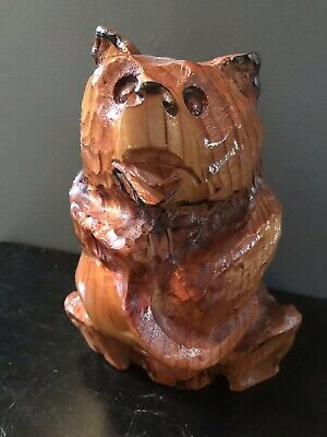 VINTAGE HAND CARVED Grizzly Bear with Salmon in Mouth Handmade Folk