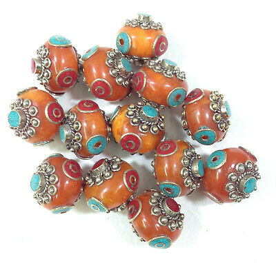 Beads Tibetan Copal Amber Turquoise Coral Beads 25mm