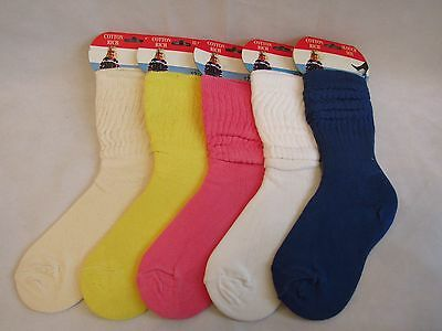 New Slouch socks pink white ivory yellow blue  kids children cotton blend