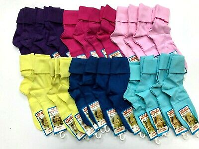 4 x Girls Plain Colour  short slouch socks  soft Cotton ,pink purple blue yellow
