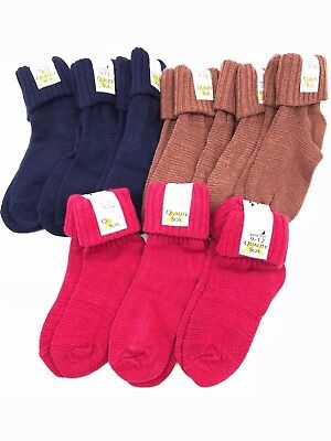 3 Pairs Blue Red & Tan soft Fluffy fleece winter warm ankle socks & turn over