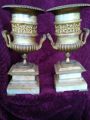 """Rare Antique 12""""  Bronze And Marble  Urn With Great Original Patina"""