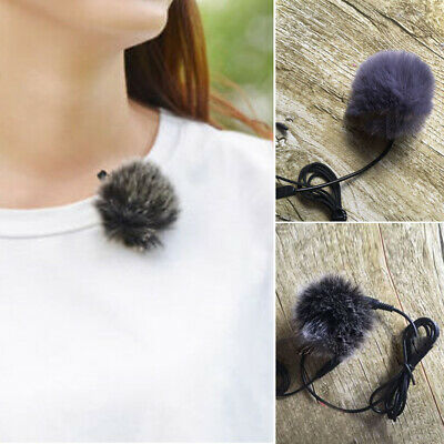 Fur Windscreen Windshield Wind Muff For Lapel Lavalier Microphone Mic Black Grey