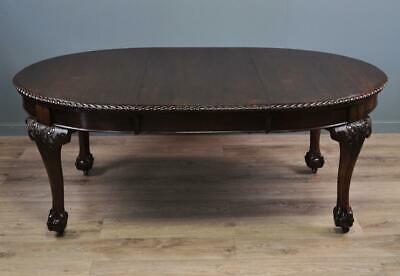 Attractive Antique Carved Mahogany Wind Out Extending Dining Table With One Leaf