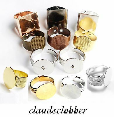 Flat Pad Ring Blanks Extra Strong/Unisex Silver/Gold/Gunmetal/Rose Gold/Brass