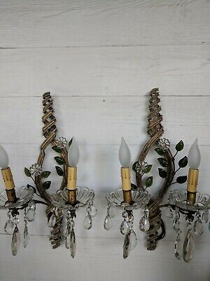 Pair of Exquisite Beaded Crystal Bagues French Italian Antique Vtg Sconces