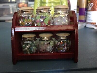 """New Dollhouse 6 Clear Canister Set in Wood Shelves, appr. 2""""x2.5""""x1.5"""""""