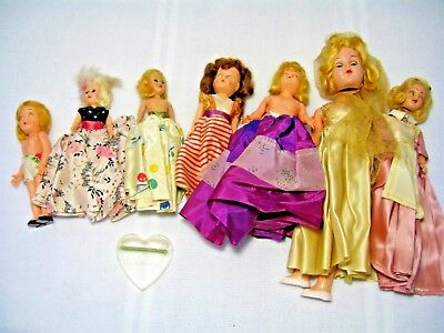 LOT of 7 VINTAGE HARD PLASTIC STORYBOOK DOLLS with ORIGINAL CLOTHING – UNMARKED