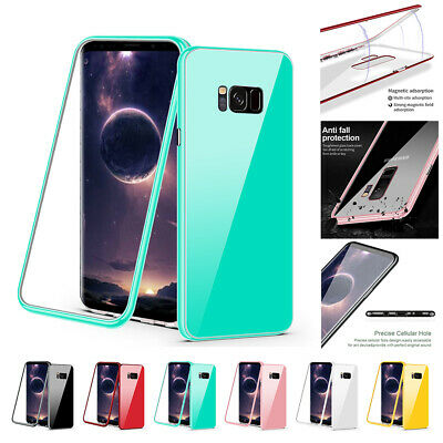For Samsung Galaxy S8 S9 Plus Note 8 9 PC Case + Tempered Glass Shockproof Cover
