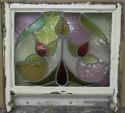 "EDWARDIAN ENGLISH LEADED STAINED GLASS SASH WINDOW Nice Abstract 23.25"" x 18.5"""