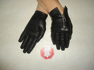 Women's Black Real Soft Goatskin Leather Driving Gloves Size 7, 7.5, 8,8.5