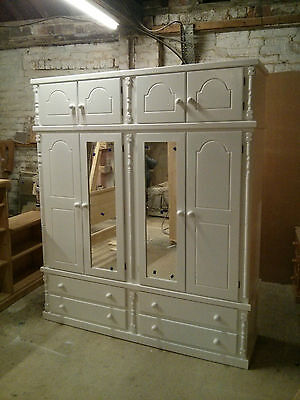 Buckingham Pine Quad 4 Drawer 2 Mirror Door With Top Box White 11 Colours