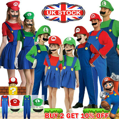 Men Adult Kids Women's Super Mario and Luigi Fancy Dress Cosplay Costume Outfit.