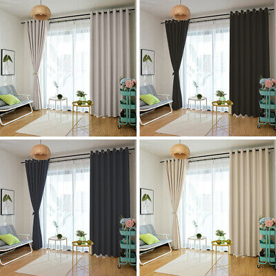 2 Panels Thermal Blackout Luxurious Curtains Ready Made Eyelet Ring Top Black UK