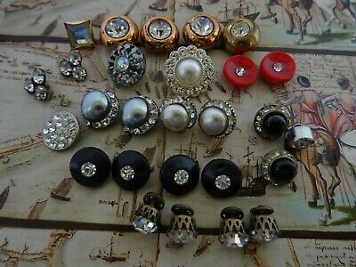 27 Vintage Old Antique Rhinestone Buttons All Kind sewing crafting collecting.