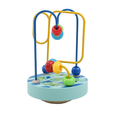 Baby kids Wooden Colorful Mini Around Beads Wire Maze Educational Game Toy LG
