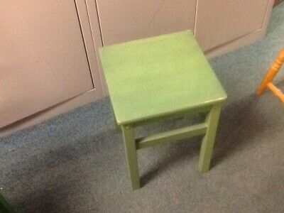 Low Rubberwood Stool Painted Green