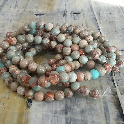 Natural Regalite 8mm Light Blue Approx 48pce. Free postage. Oz Seller