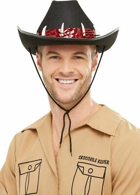 Adventurer Cowboy Hat With Teeth Safari Fancy Dress Mens Crocodile Dundee New