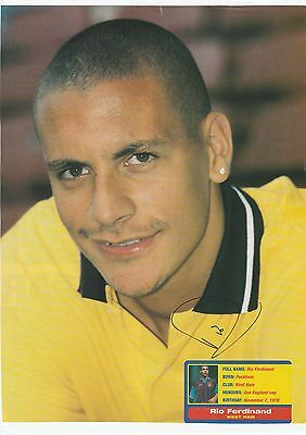 Football Autograph Rio Ferdinand West Ham Utd 1996-2000 Original Signed Picture