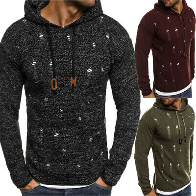 Men's Hoodie Warm Hole Hooded Sweatshirt Coat Jacket Outwear Jumper Sweater
