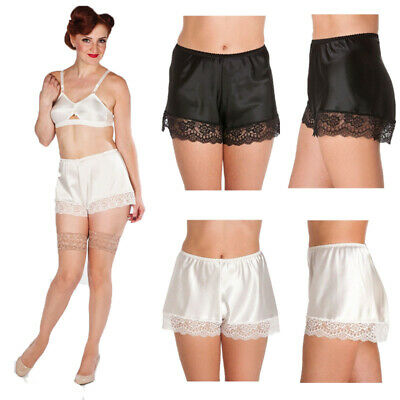 really cheap best authentic fashion style WOMENS SILK SATIN French Knickers Ladies Lace Trim Elastic Waist Boxer  Shorts