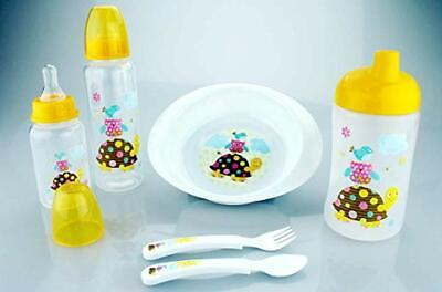 Six Piece Baby Feeding Set Blue/Green/Pink/Yellow - WHOLESALE 11 Pieces