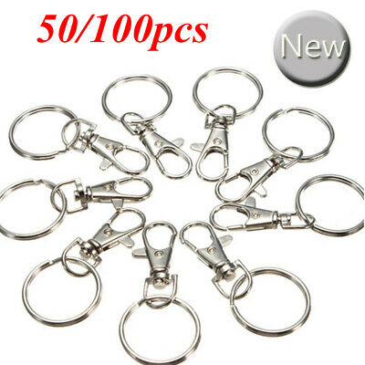 100X Silver Tone Lobster Trigger Swivel Clasps Split Keyring Hook Key Fob Ring