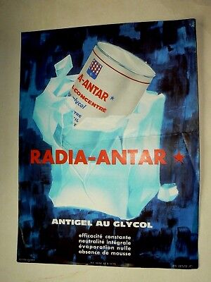 Affiche Ancienne Antigel RADIA ANTAR Huile Auto Années 60 Car Oil  Poster
