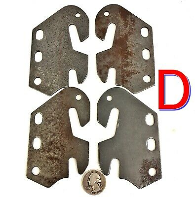 Set of 4 Antique Wooden Bed Rail HOOKS Double Claw Steel Ends/Tips free ship *D*
