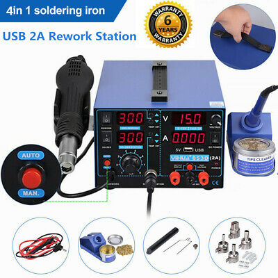 YIHUA 4in1 853D USB 2A Rework Soldering Iron StationHot Air Gun DC Power Supply