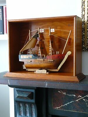 Arts & Crafts Handmade 3 Masts Wooden Sailing Ship Boat Galleon in Wood Case