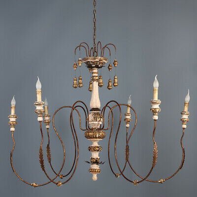 Rustic Antique Gold 6-Light Carved Wood Metal Chandelier Candelabra Ceiling Lamp