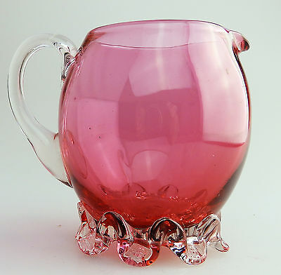 Antique English Cranberry Glass an unusual shape Victorian Jug  C.19thC