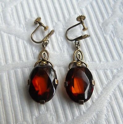Very Nice Art Deco Amber and 835 Silver Earrings from 1930s