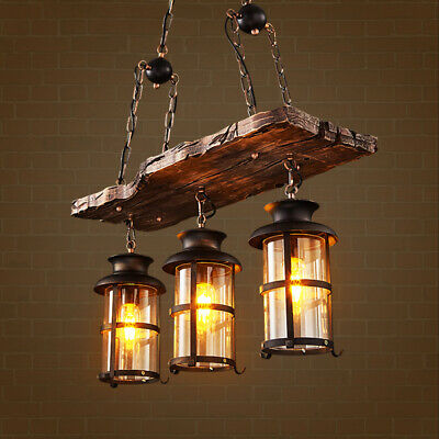 Industrial 2-Light Wood Beam Antique Black Metal Chain Glass Shade Pendant Light