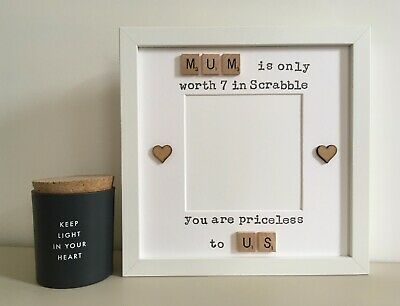 (i) Scrabble Art Picture Photo Frame Mothers Day Mum Mummy Personalised