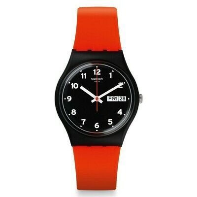Reloj Red Grin de Swatch GB754 color negro con números correa silicona
