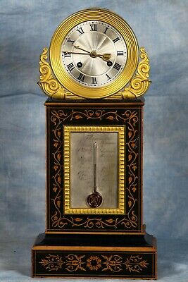 Antique French Inlaid Wood Bronze Dore Ormolu Clock and Thermometer 19th Century