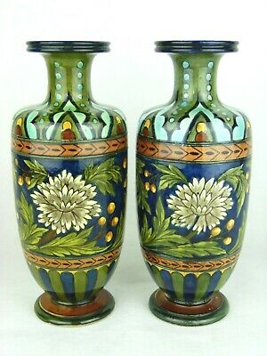 A Rare Pair of Doulton Lambeth Faience Arts & Crafts Vases by Minna L Crawley.