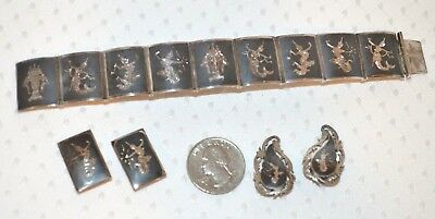 Vintage SIAM STERLING SILVER panel Dancer Bracelet & Two Pair Clip Earrings 45g