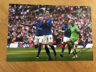 Portsmouth Checkatrade Trophy Final Duo Photo Signed With PHOTO PROOF