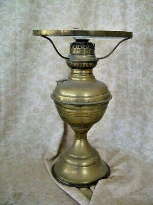 Old Brass  OIL LAMP ~ NO GLASS CHIMNEY